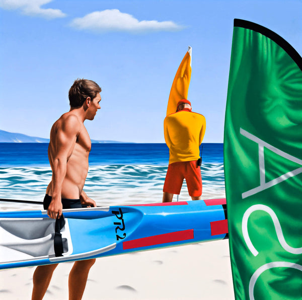 Ross Watson painting of speedo clad man carrying surf ski into water in front of life saver planting red and yellow flag in sand with green flag in foreground