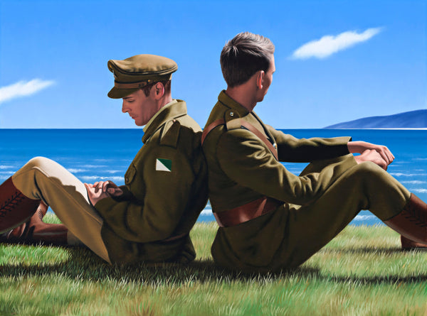 Ross Watson painting of two Australian Light horsemen soldiers in uniform sitting back to back on ocean headland