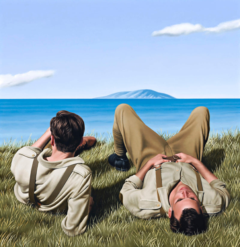 Ross Watson painting on two WW1 soldiers laying on headland looking out to sea