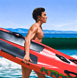 Ross Watson painting of surfer running into water carrying red surf ski