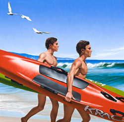 Ross Watson painting of twin surfers carrying surf skis running into ocean