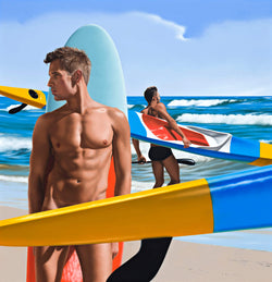 Ross Watson painting of naked man leaning against surfboard with a surf ski in the foreground and a man with a surf ski running into waves