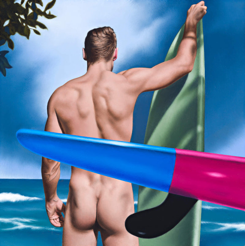 Ross Watson painting of naked man holding green vertical surfboard viewed from behind with blue and purple surf ski in the foreground