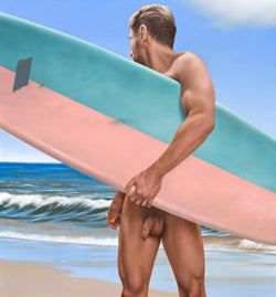 Ross Watson painting of front view of naked man holding surf board at the beach