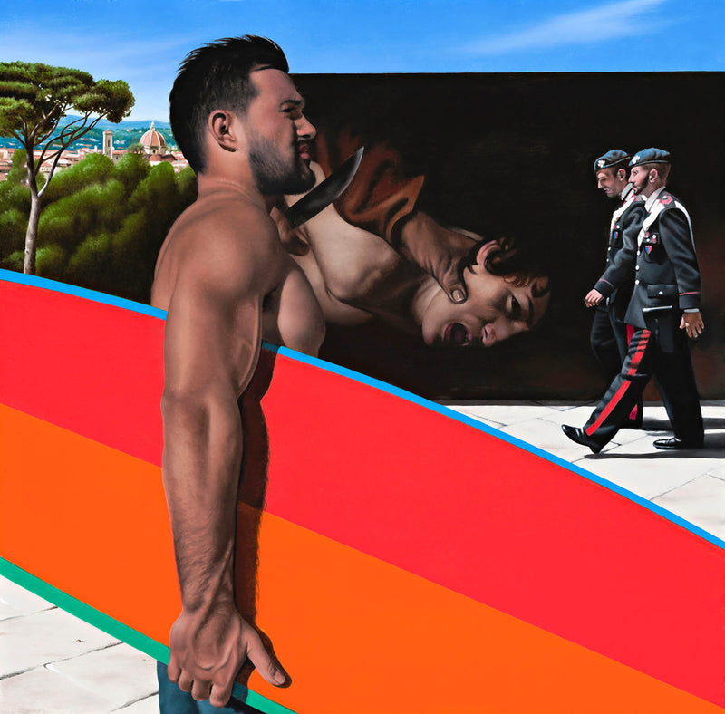 Ross Watson painting of Surfer with orange and red surfboard in front of billboard with caravaggio painting and two italian policemen with Florence in the distance
