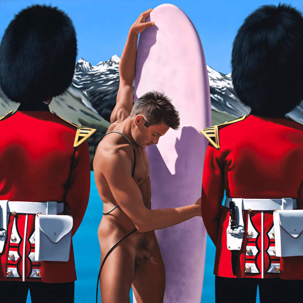 Ross Watson painting of naked surfer holding pink surf board between two Queens guards wearing bearskin hats with blue lake and snow capped mountains in the background