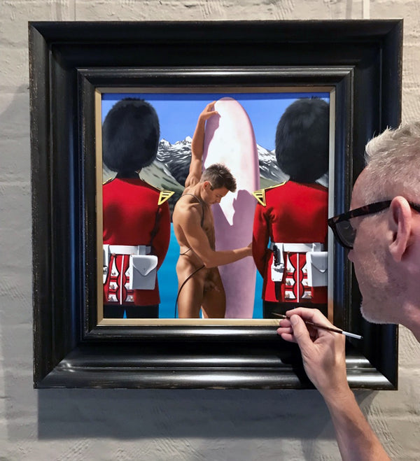 Ross Watson signing painting lower right of Nathan and Queen's Guard