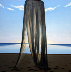 Ross Watson painting of unfurled mosquito net on beach at dusk