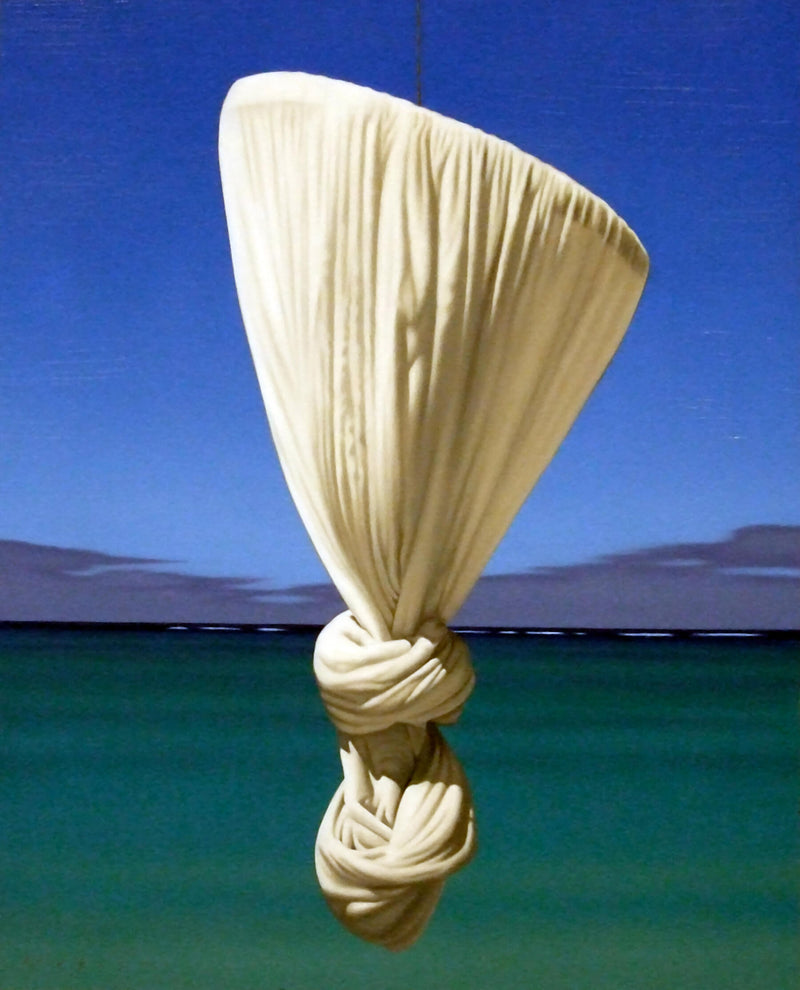 Ross Watson Painting of knotted mosquito net floating in front of ocean at dusk
