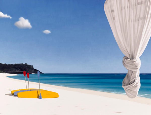 Ross Watson painting of white sand beach with three canoes with upright paddels and a knotted mosquito net
