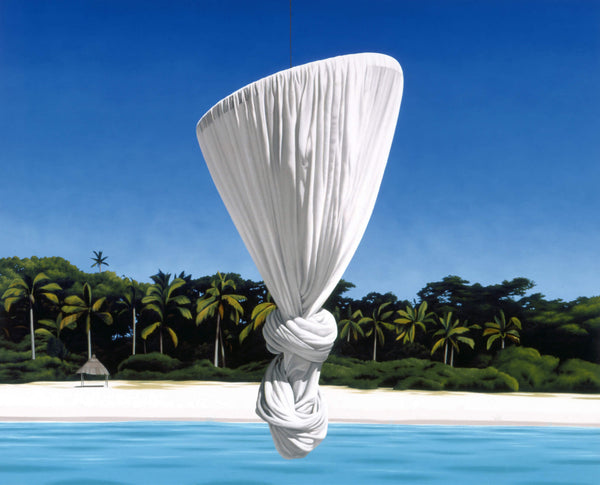 Ross Watson painting of knotted mosquito net suspended on white sand beach