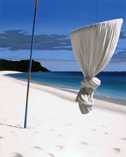 Ross Watson painting on knotted mosquito net suspended from pole on white sand beach