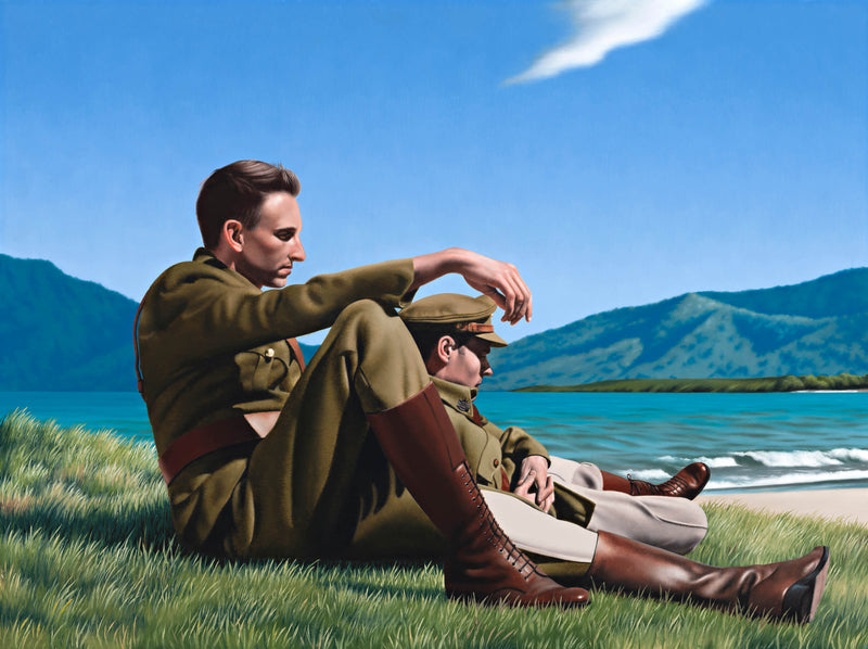 Ross Watson painting of two WW1 soldiers in full uniform with riding boots, sitting on grass with ocean in the background.