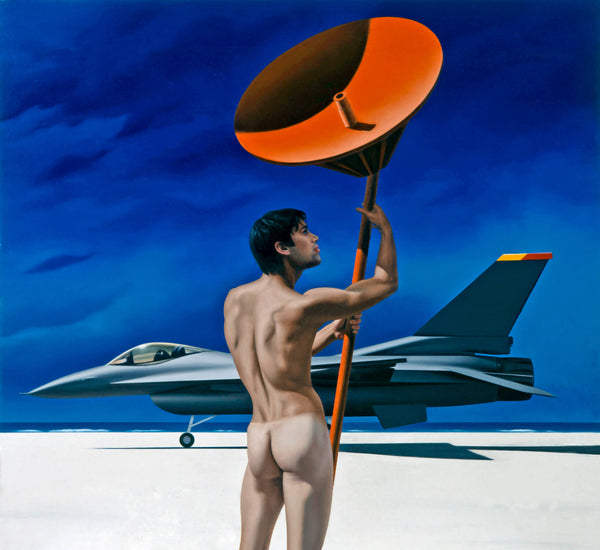 Surrealist painting of a naked man viewed from behind holding an orange radar dish on the beach with a fighter jet in the background