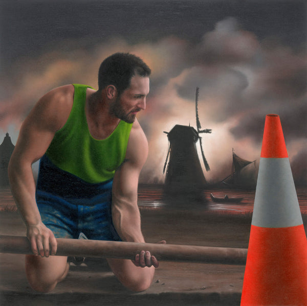 Ross Watson painting of plumber in hi-vis handling pole with a dutch windmill in the background and red and white traffic cone in the foreground