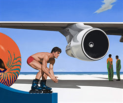 Surrealist painting of man in shorts on rollerblades before a jet enging on plane wing and vibrant orange nautilus shell