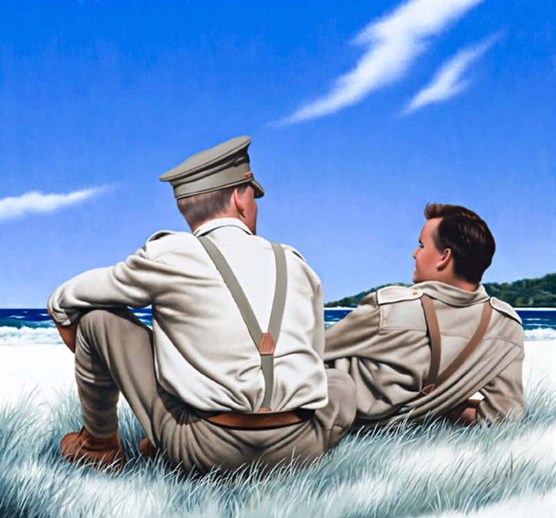 Ross Watson painting of two WW1 soliders sitting in sand dunes looking out to sea