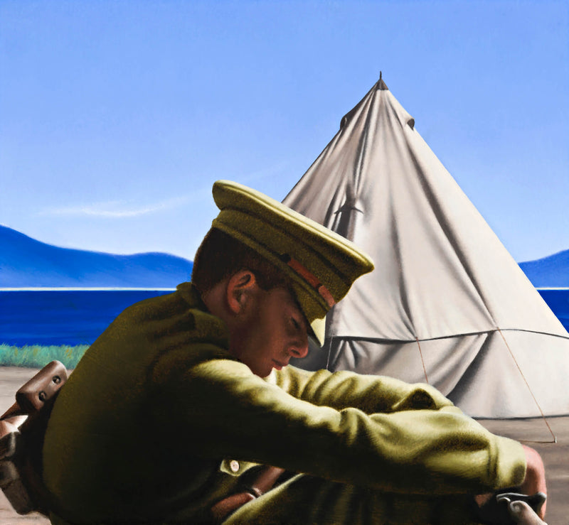 Ross Watson painting of WW1 soldier slumped over sleeping in front of canvas tent