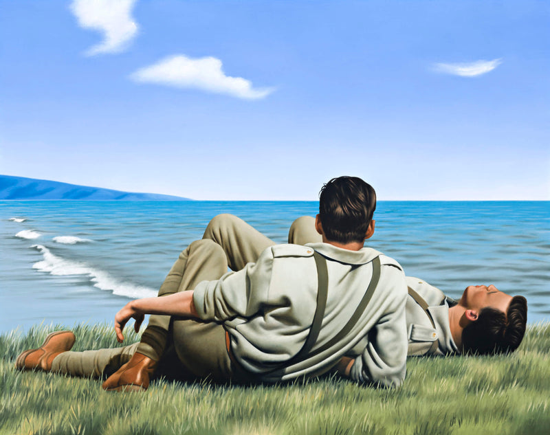 Ross Watson painting of two WW1 soliders laying on headland looking out to sea