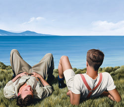 Ross Watson painting of two WW1 soldiers laying on ocean headland looking out to sea