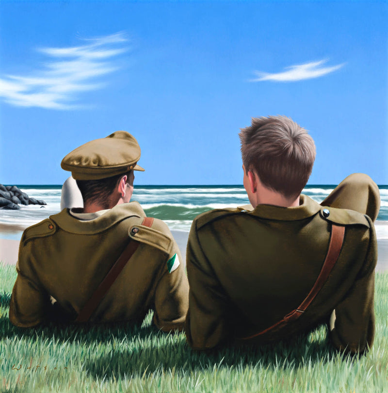 Ross Watson painting of two soldiers view from behind laying on grass next to beach