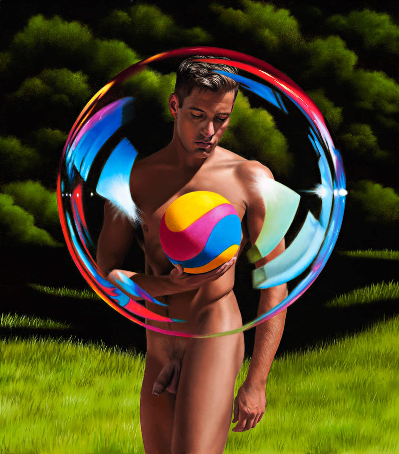 Ross Watson painting of a naked man encased in giant bubble holding a yellow pink and blue soccer ball in a treed setting