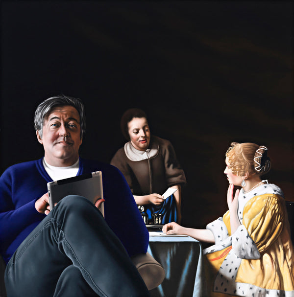 Painting of Stephen Fry sitting in blue sweater and jeans using an ipad with vermeer's painting of the maid receiving a letter in the background which features an aristocratic women in a yellow ermine robe seated at a table receiveing a letter from her maid dressed in a brown smock