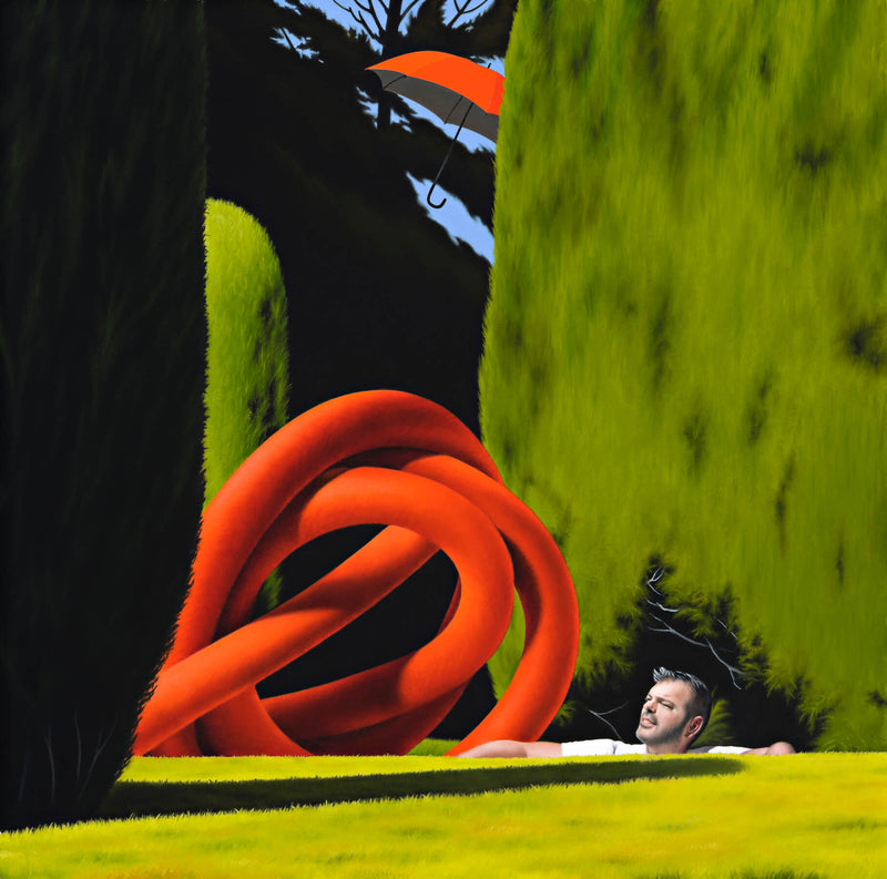 Surrealist painting of giant red rope knot set in lush confer garden with a man's face looking up and a partially obscured red umbrella in the sky
