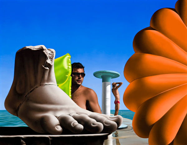Surrealist Ross Watson painting of a sculpture of a giant marble foot with a shirtless man wearing sunglasses holding a lime green lilo with an oversized orange parachute and a man showering under an art deco beach shower in the distance