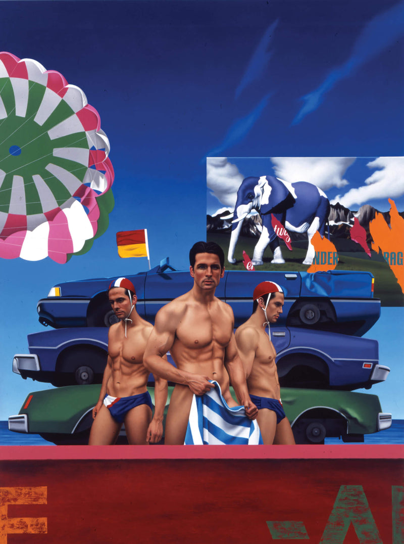 Surrealist painting of three men in the foreground, the middle one naked holding a towel, flanked either side by surf lifesavers, with a background of crushed cars and open parachute and milka chocolate billboard featuring a purple and white elephant