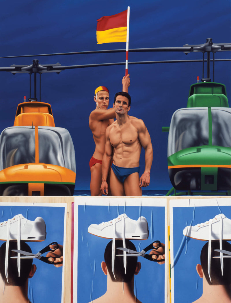 Surrealist painting of two central lifesavers holding a yellow and red flag, flanked by an orange helicopter on the left and a green helicopter on the right. Below is pasted signs repeated three times of a pair of sissors cutting the shoe laces of white sneakers that sit upon the head of a man viewed from behind