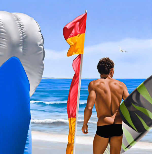 Ross Watson painting of surfer holding board on beach with red and yellow flag and inflatable bouy