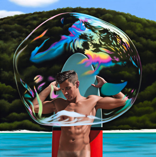 Ross Watson painting of an oversized bubble covering a naked man in front of his blue and red surfboard in a beach setting with water and a treed hill in the background