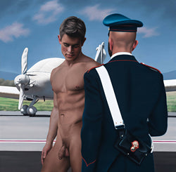 Ross Watson painting of naked Dolph Lambert with italian military officer viewed from rear on tarmac with aeroplane wrapped in white fabric in background