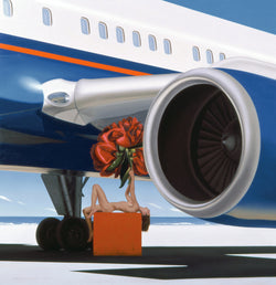 Surrealist painting of woman lying on orange box holding an oversized carnation in front of a 747 aeroplane