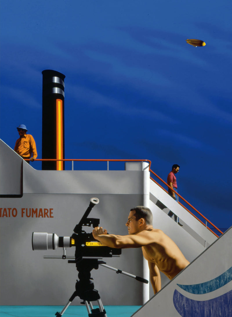 Painting of man using movie camera on ships deck