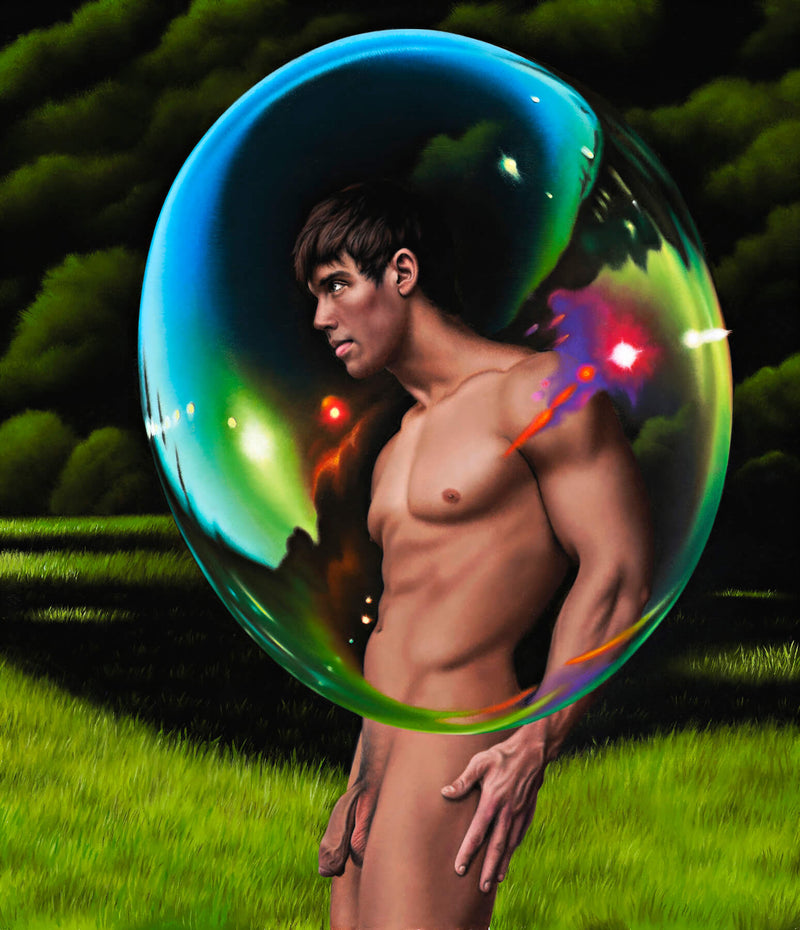 Ross Watson painting of naked porn star Kris Evans in profile with giant bubble over his upper body and treed background