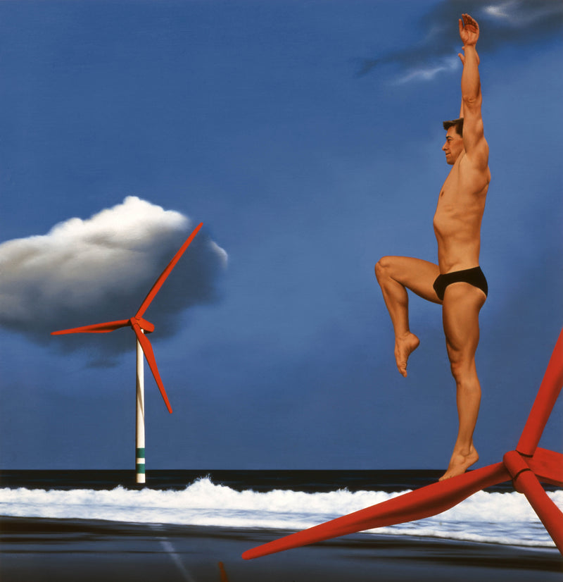 Surrealist painting of diver on wind turbine