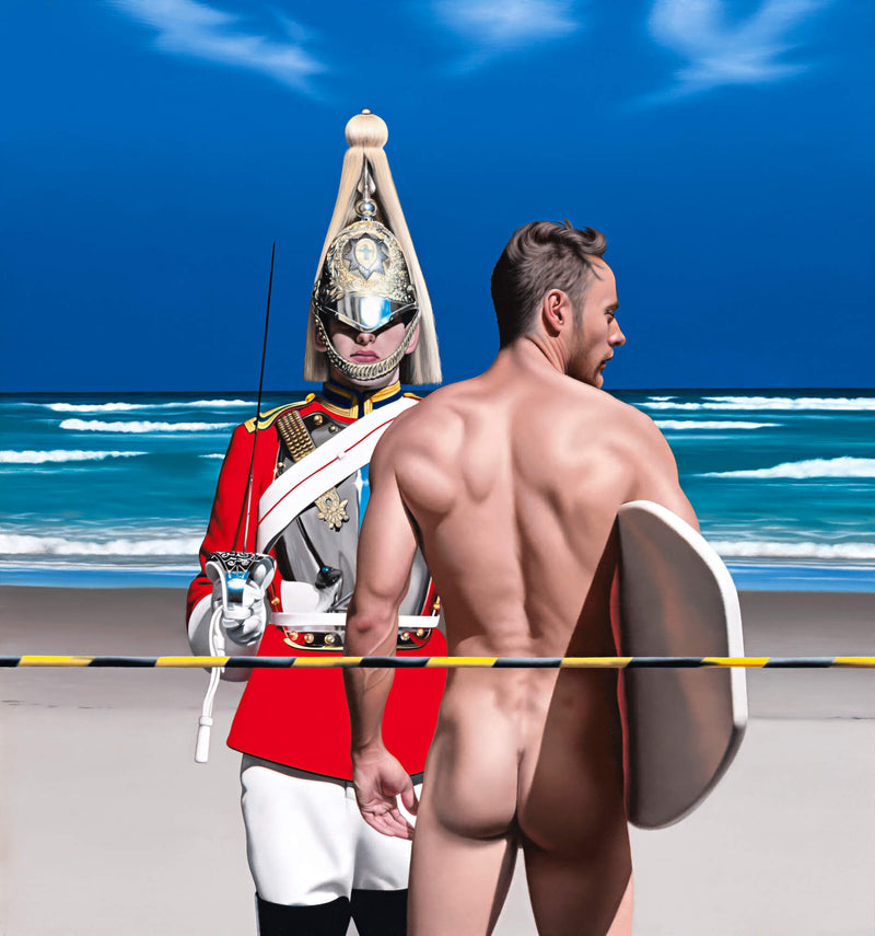 Ross Watson painting of Queens Guard in ceremonial uniform standing on beach behind naked surfer carrying surfboard under arm