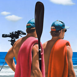 Ross Watson painting of twin life guards wearing caps and carrying towels at the beach with video camera in background