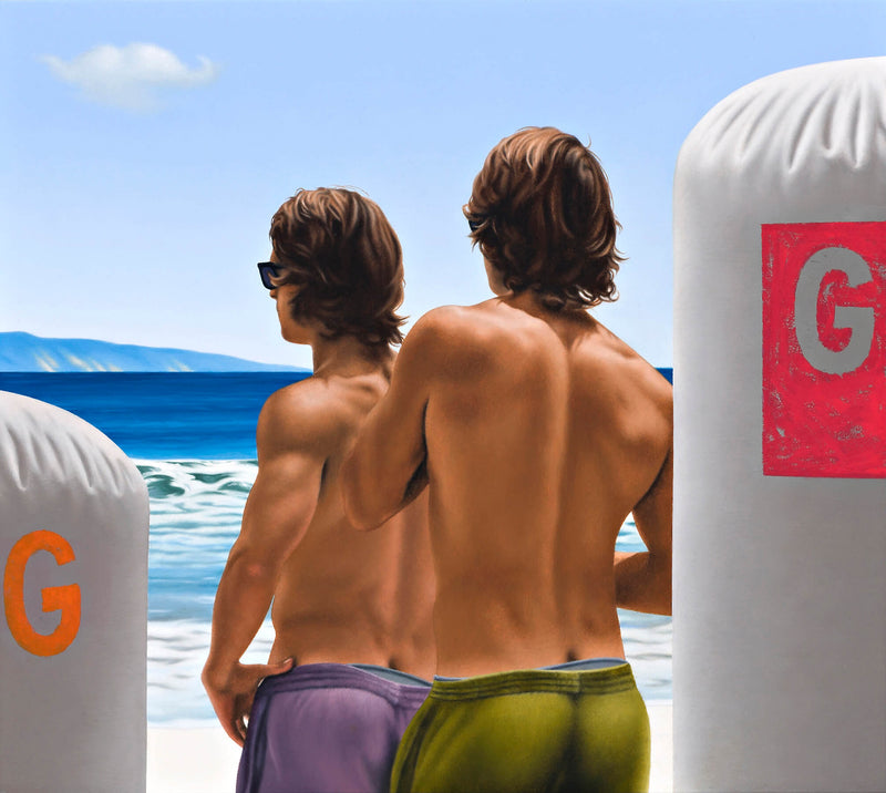 Ross Watson painting of twin surfers wearing green and purple shorts on beach between two inflatable bouys