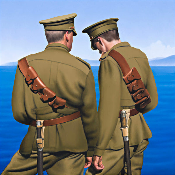 Ross Watson painting of two soldiers in full WW1 uniform, viewed from behind thier hands intimately touching