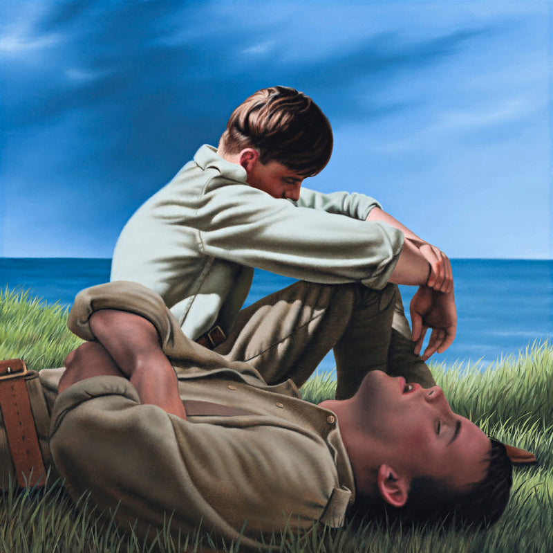 Ross Watson painting of two WW1 soldiers one laying asleep the other sleeping in sitting position