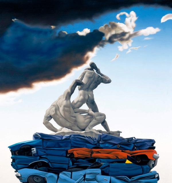 Surrealist Ross Watson painting of ancient roman sculpture of naked men on top of crushed cars with stormy sky