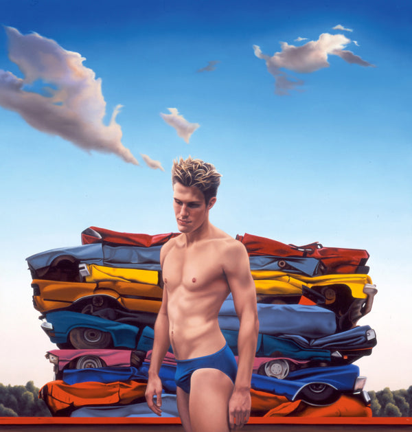 Surrelist painting of speedo clad man in front of pile of crushed cars