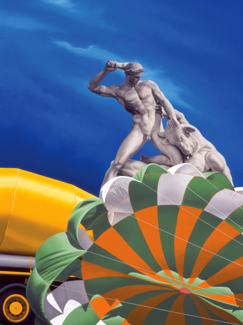Surrealist Ross Watson painting of marble statue of man clubbing demon on top of orange white and green open parachute with concrete mixer to the left and twilight sky
