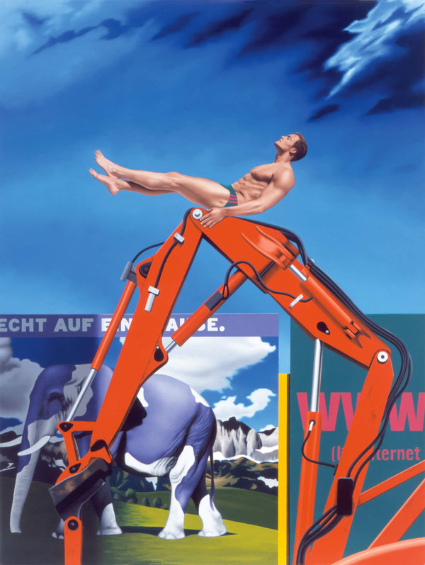 Surrealist painting of man balancing on digger arm in front of german billboards advertising milka chocolate