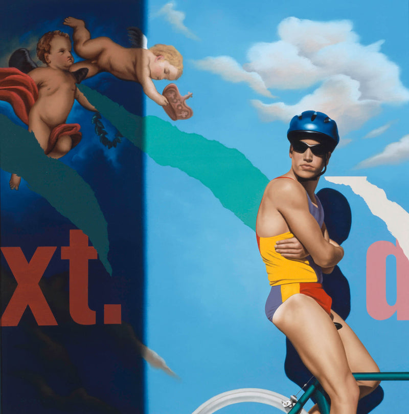 Ross Watson Painting of man in lycra swimwear wearing blue helmet on bicycle in front of billboard featuring two putti