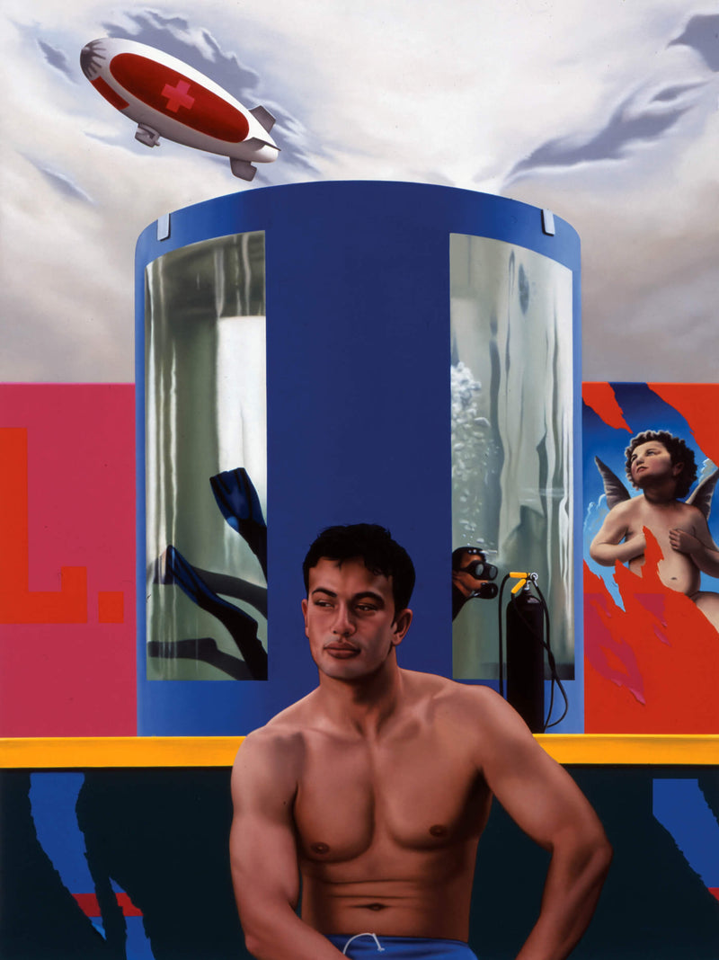 Surrealist Ross Watson painting of shirtless man sitting in front of circular diving tank with scuba man with a blimp with a red cross in the sky