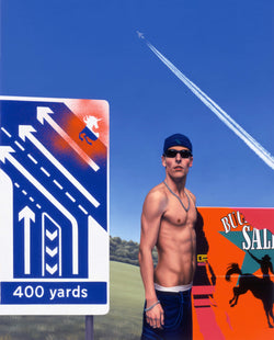 Painting of a shirtless young man wearing a backward baseball cap and sunglasses in front of a billboard to the side of an english highway road sign with and aeroplane and it's jet stream in the sky